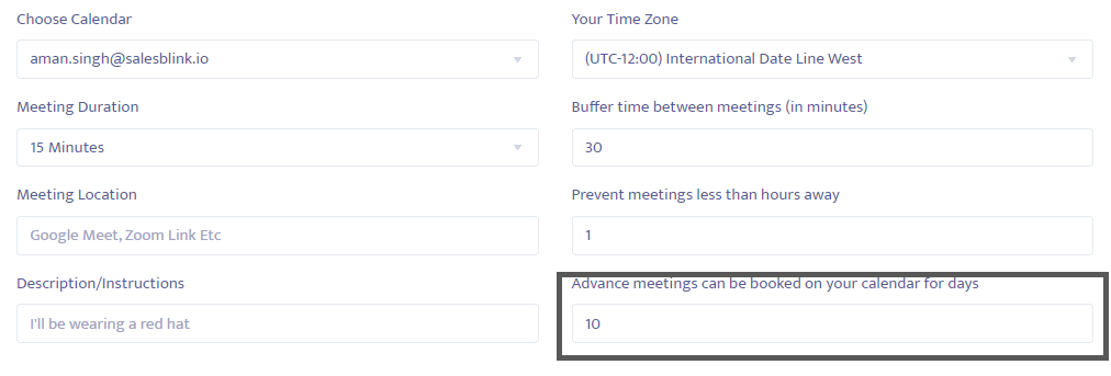 Change the time of advanced meetings