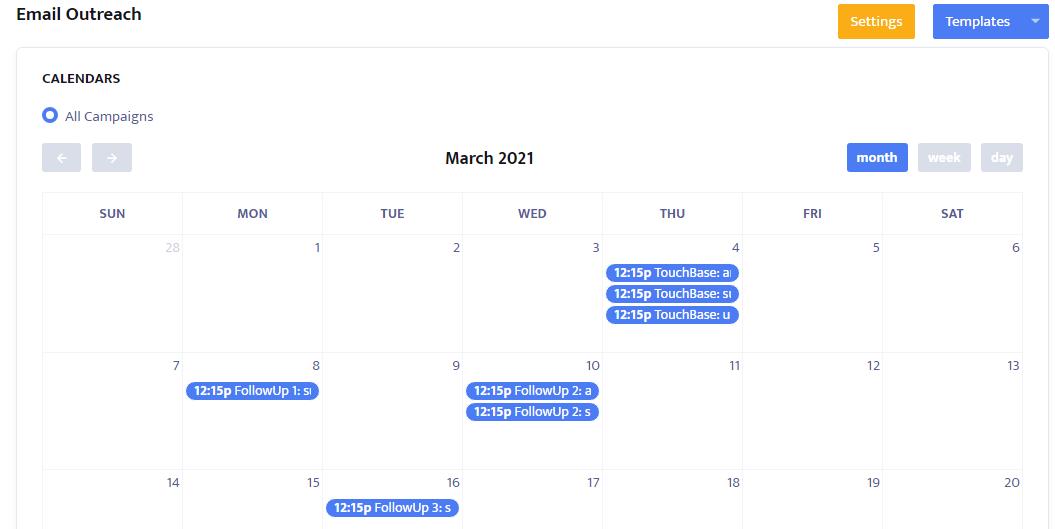 Calendar appears