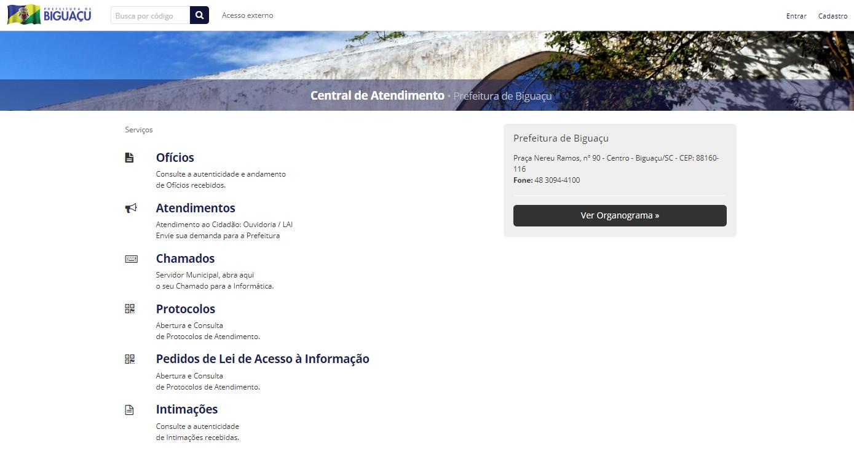 Exemplo de Central de Atendimento e seus possíveis documentos disponíveis
