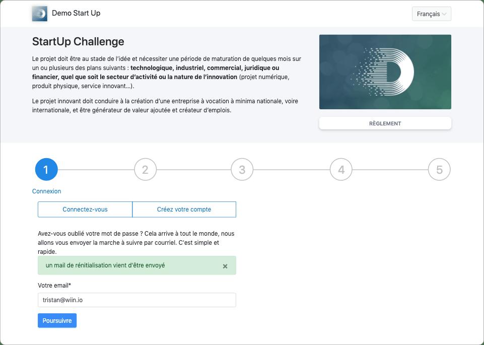 Notification d'email de réinitialisation de mot de passe