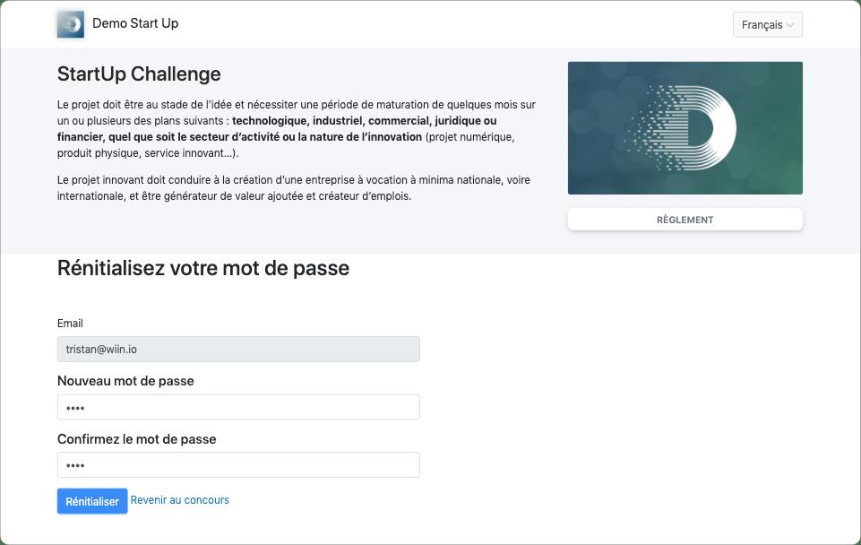 Interface de réinitialisation de mot de passe