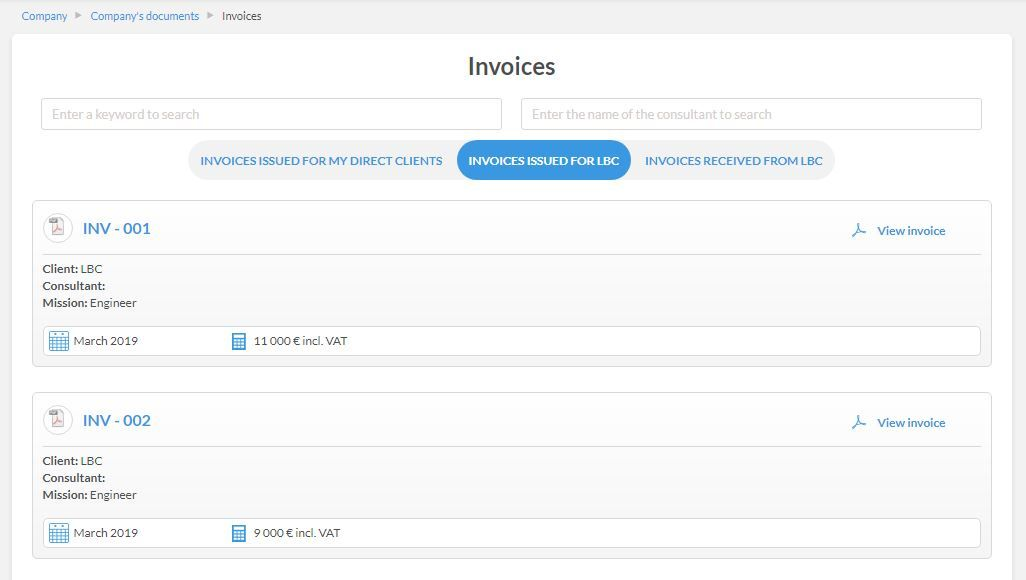 Go to Timesheets and Invoices > Invoices