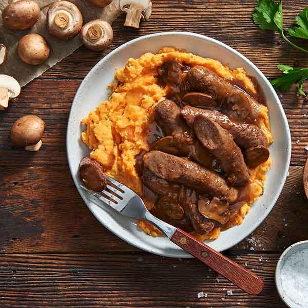 Kanga Bangers with Sweet Potato Mash