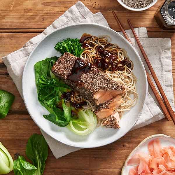 Soy & Sesame Chia Salmon with Soba Noodles